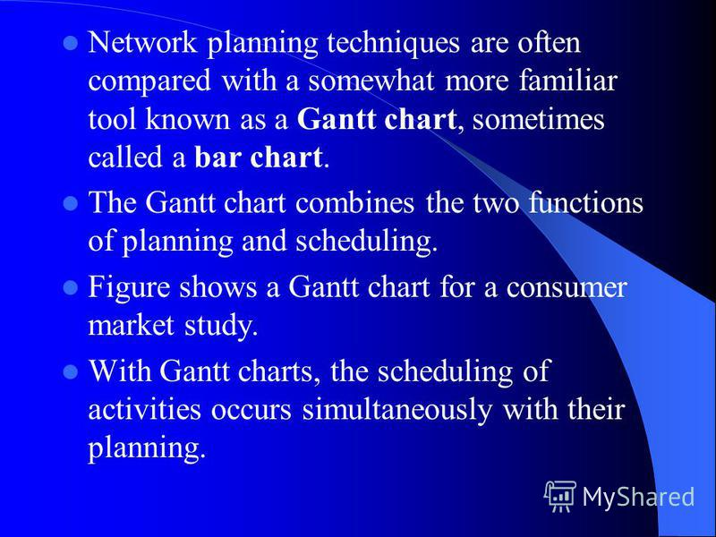 Network planning techniques are often compared with a somewhat more familiar tool known as a Gantt chart, sometimes called a bar chart. The Gantt chart combines the two functions of planning and scheduling. Figure shows a Gantt chart for a consumer m
