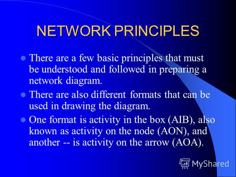 NETWORK PRINCIPLES There are a few basic principles that must be understood and followed in preparing a network diagram. There are also different formats that can be used in drawing the diagram. One format is activity in the box (AIB), also known as