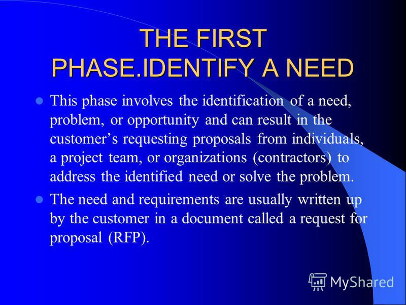 THE FIRST PHASE.IDENTIFY A NEED This phase involves the identification of a need, problem, or opportunity and can result in the customers requesting proposals from individuals, a project team, or organizations (contractors) to address the identified