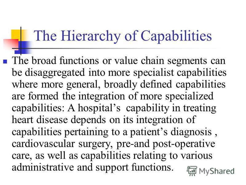 The Hierarchy of Capabilities The broad functions or value chain segments can be disaggregated into more specialist capabilities where more general, broadly defined capabilities are formed the integration of more specialized capabilities: A hospitals
