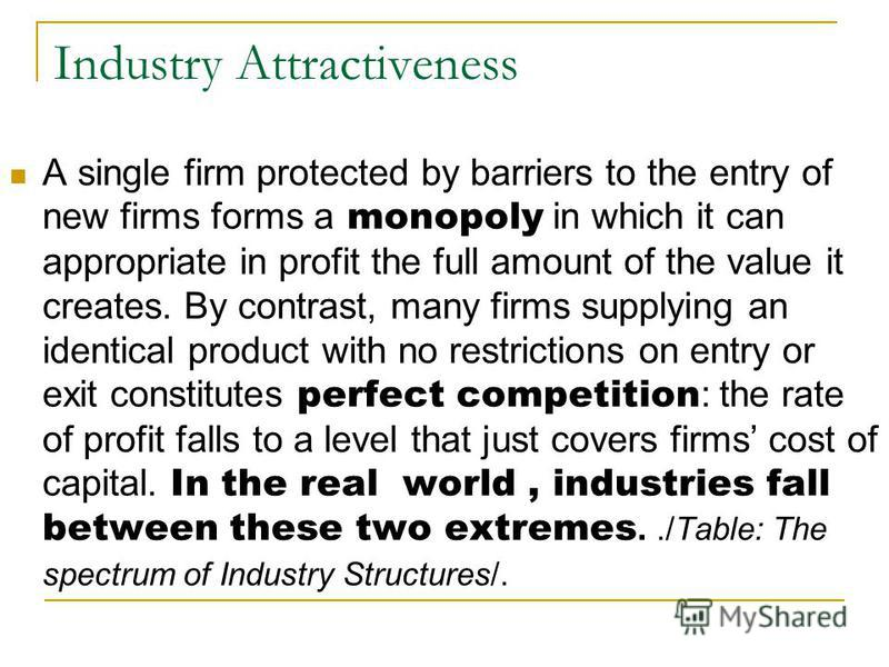 Industry Attractiveness A single firm protected by barriers to the entry of new firms forms a monopoly in which it can appropriate in profit the full amount of the value it creates. By contrast, many firms supplying an identical product with no restr