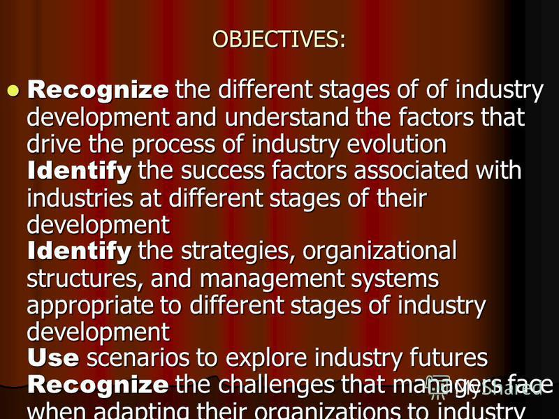 OBJECTIVES: Recognize the different stages of of industry development and understand the factors that drive the process of industry evolution Identify the success factors associated with industries at different stages of their development Identify th