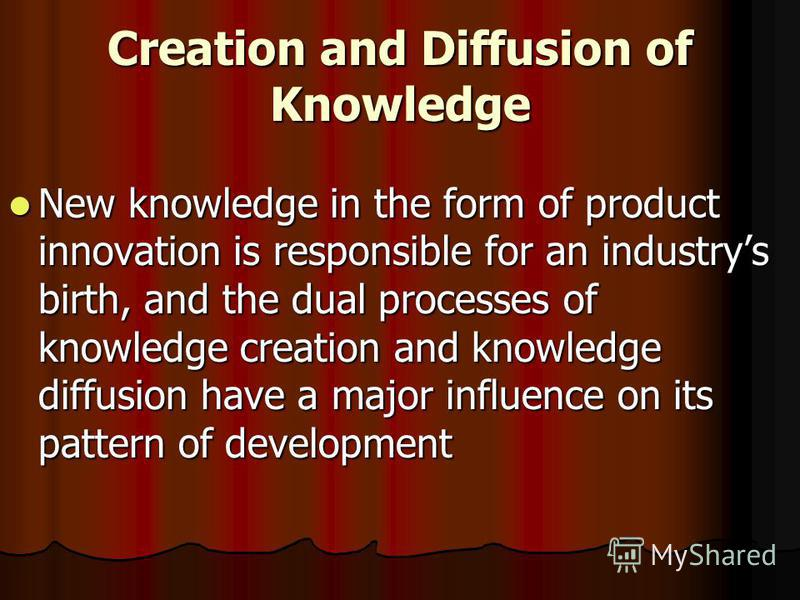 Creation and Diffusion of Knowledge New knowledge in the form of product innovation is responsible for an industrys birth, and the dual processes of knowledge creation and knowledge diffusion have a major influence on its pattern of development New k