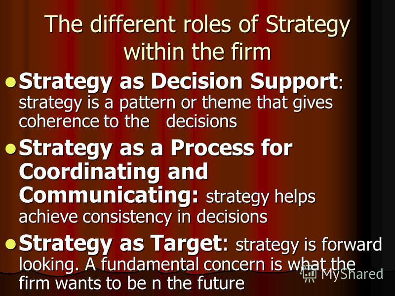The different roles of Strategy within the firm Strategy as Decision Support : strategy is a pattern or theme that gives coherence to the decisions Strategy as Decision Support : strategy is a pattern or theme that gives coherence to the decisions St
