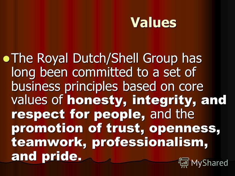 Values Values The Royal Dutch/Shell Group has long been committed to a set of business principles based on core values of honesty, integrity, and respect for people, and the promotion of trust, openness, teamwork, professionalism, and pride. The Roya