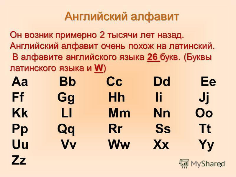 3 Английский алфавит Он возник примерно 2 тысячи лет назад. Английский алфавит очень похож на латинский. В алфавите английского языка 26 букв. (Буквы латинского языка и W) В алфавите английского языка 26 букв. (Буквы латинского языка и W) Аа Bb Cc Dd