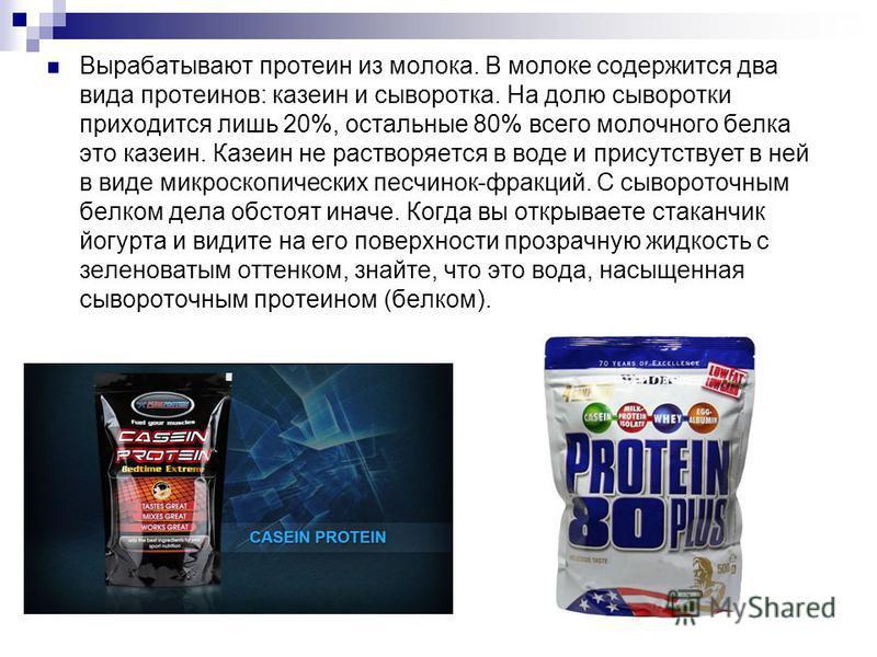 Вырабатывают протеин из молока. В молоке содержится два вида протеинов: казеин и сыворотка. На долю сыворотки приходится лишь 20%, остальные 80% всего молочного белка это казеин. Казеин не растворяется в воде и присутствует в ней в виде микроскопичес