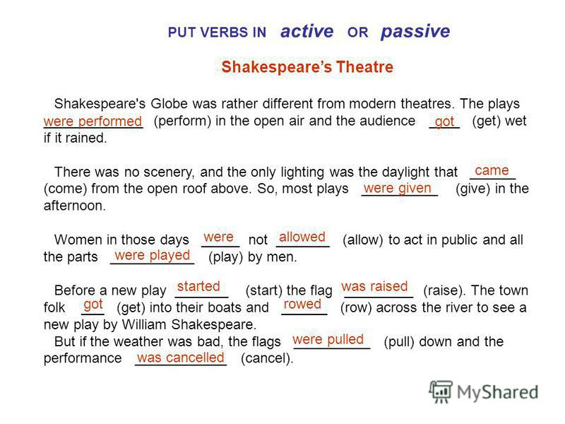 PUT VERBS IN active OR passive Shakespeares Theatre Shakespeare's Globe was rather different from modern theatres. The plays _____________ (perform) in the open air and the audience ____ (get) wet if it rained. There was no scenery, and the only ligh