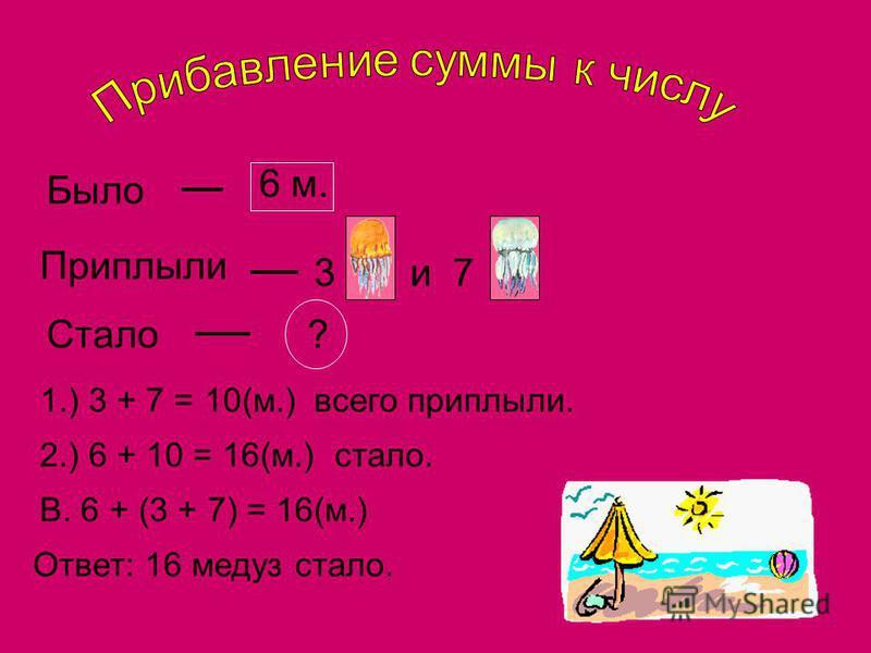 Было 6 м. Приплыли 3 и 7 Стало? 1.) 3 + 7 = 10(м.)всего приплыли. 2.) 6 + 10 = 16(м.)стало. В. 6 + (3 + 7) = 16(м.) Ответ: 16 медуз стало.