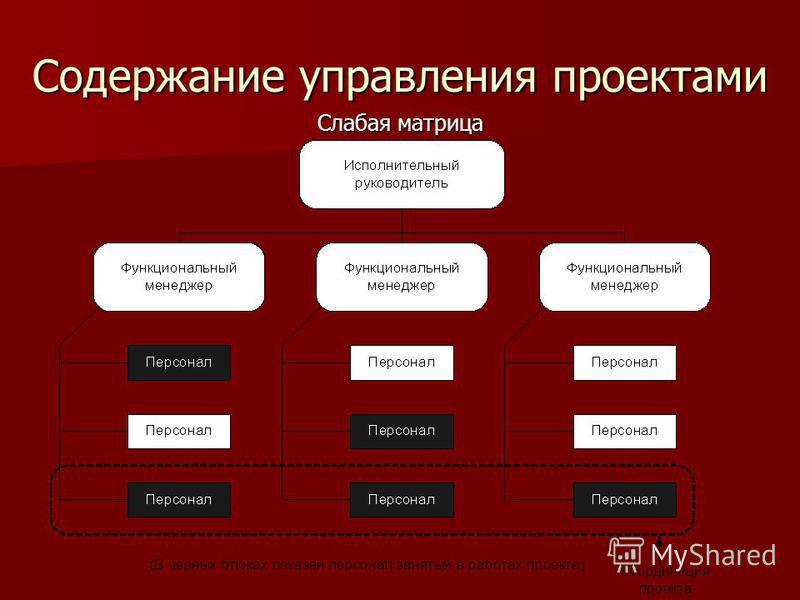 Содержание управления проектами Слабая матрица