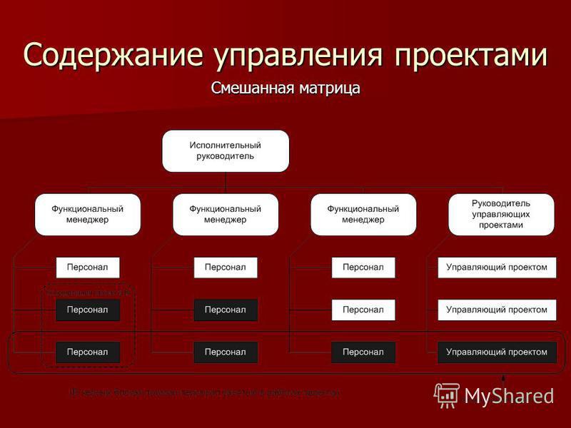 Содержание управления проектами Смешанная матрица