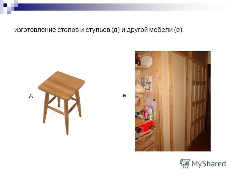 изготовление столов и стульев (д) и другой мебели (е). ед