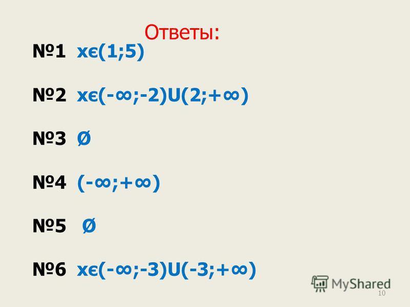 Ответы: 1 хє(1;5) 2 хє(-;-2)U(2;+) 3 Ø 4 (-;+) 5 Ø 6 хє(-;-3)U(-3;+) 10