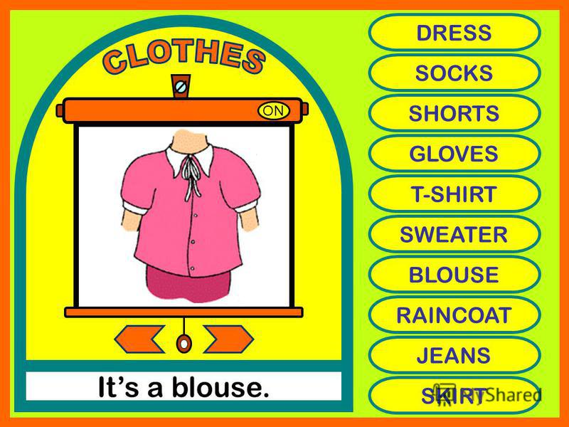 ON Its a blouse. DRESS SOCKS SHORTS GLOVES T-SHIRT SWEATER BLOUSE RAINCOAT JEANS SKIRT