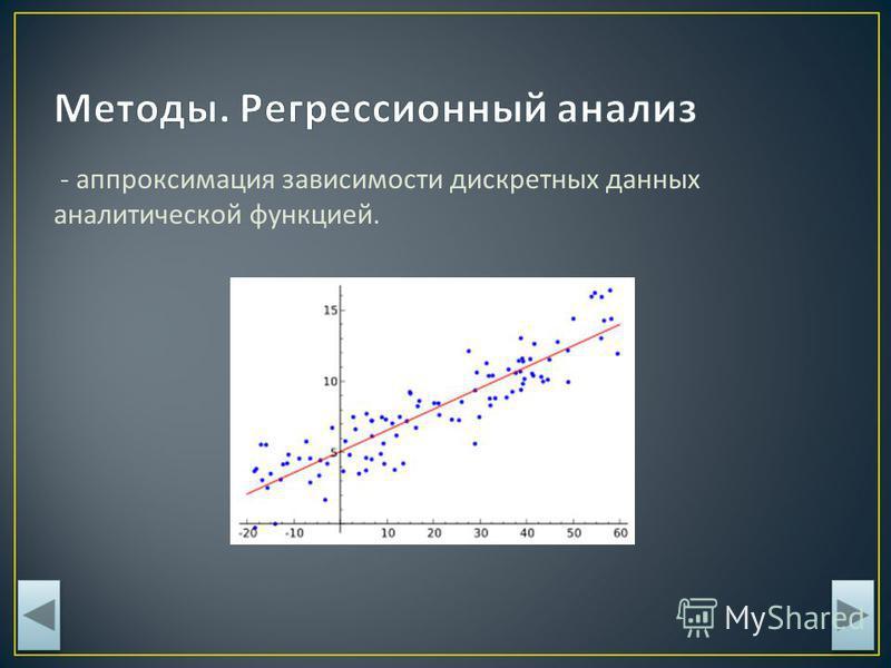- аппроксимация зависимости дискретных данных аналитической функцией.
