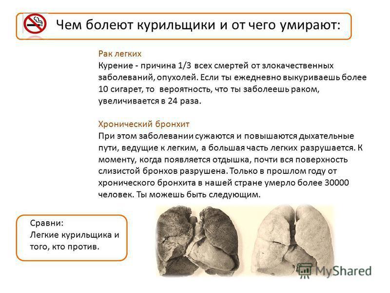 Чем болеют курильщики и от чего умирают: Рак легких Курение - причина 1/3 всех смертей от злокачественных заболеваний, опухолей. Если ты ежедневно выкуриваешь более 10 сигарет, то вероятность, что ты заболеешь раком, увеличивается в 24 раза. Хроничес