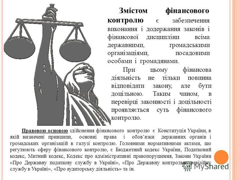 Змістом фінансового контролю є забезпечення виконання і додержання законів і фінансової дисципліни всіма державними, громадськими організаціями, посадовими особами і громадянами. При цьому фінансова діяльність не тільки повинна відповідати закону, ал