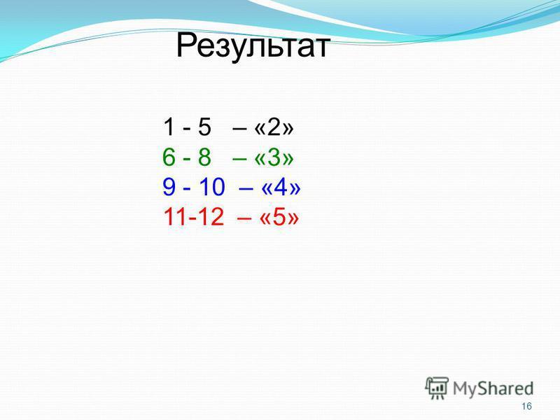 16 1 - 5 – «2» 6 - 8 – «3» 9 - 10 – «4» 11-12 – «5» Результат