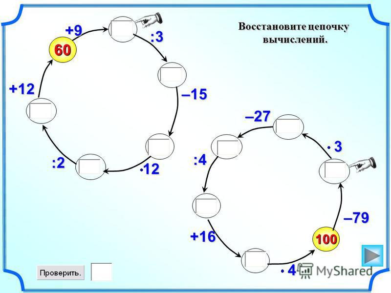 Восстановите цепочку вычислений. вычислений. 100 –79460 +9 :3 –1512:2 +123–27 :4 +16