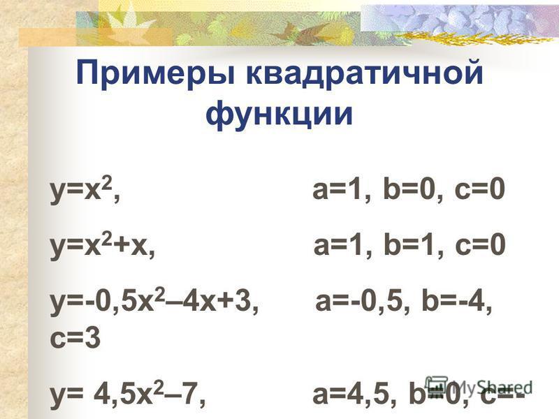Примеры квадратичной функции y=x 2, а=1, b=0, c=0 y=x 2 +x, a=1, b=1, c=0 y=-0,5x 2 –4x+3, a=-0,5, b=-4, c=3 y= 4,5x 2 –7, a=4,5, b=0, c=- 7
