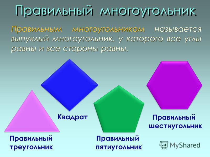 Правильный многоугольник Правильный треугольник Квадрат Правильный пятиугольник Правильный шестиугольник Правильным многоугольником называется выпуклый многоугольник, у которого все углы равны и все стороны равны.