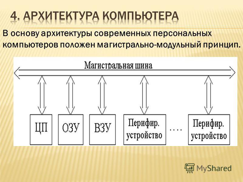 В основу архитектуры современных персональных компьютеров положен магистрально-модульный принцип.