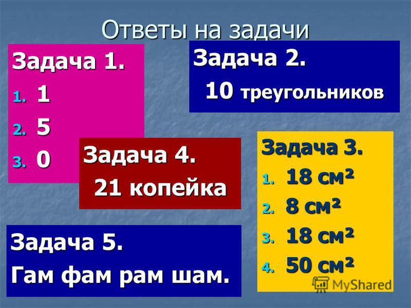 Ответы на задачи Задача 1. 1. 1 2. 5 3. 0 Задача 5. Гам фам рам вам. Задача 3. 1. 18 см² 2. 8 см² 3. 18 см² 4. 50 см² Задача 2. 10 треугольников Задача 4. 21 копейка
