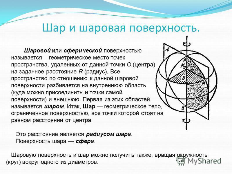 Шар и шаровая поверхность. Шаровой или сферической поверхностью называется геометрическое место точек пространства, удаленных от данной точки О (центра) на заданное расстояние R (радиус). Все пространство по отношению к данной шаровой поверхности раз