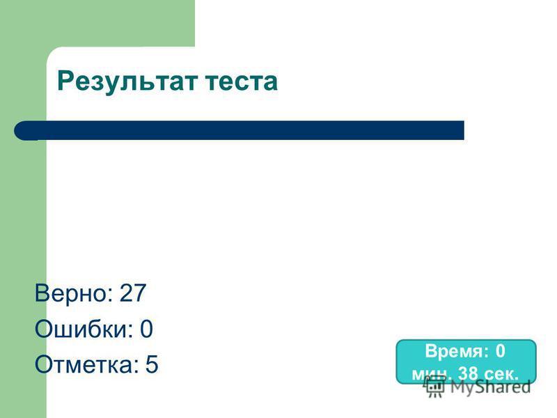 Результат теста Верно: 27 Ошибки: 0 Отметка: 5 Время: 0 мин. 38 сек.