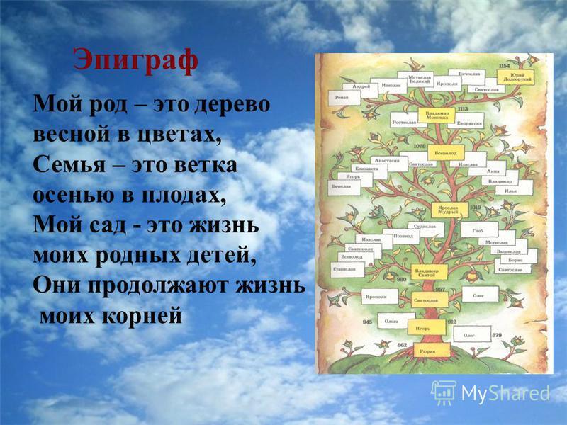 Эпиграф Мой род – это дерево весной в цветах, Семья – это ветка осенью в плодах, Мой сад - это жизнь моих родных детей, Они продолжают жизнь моих корней