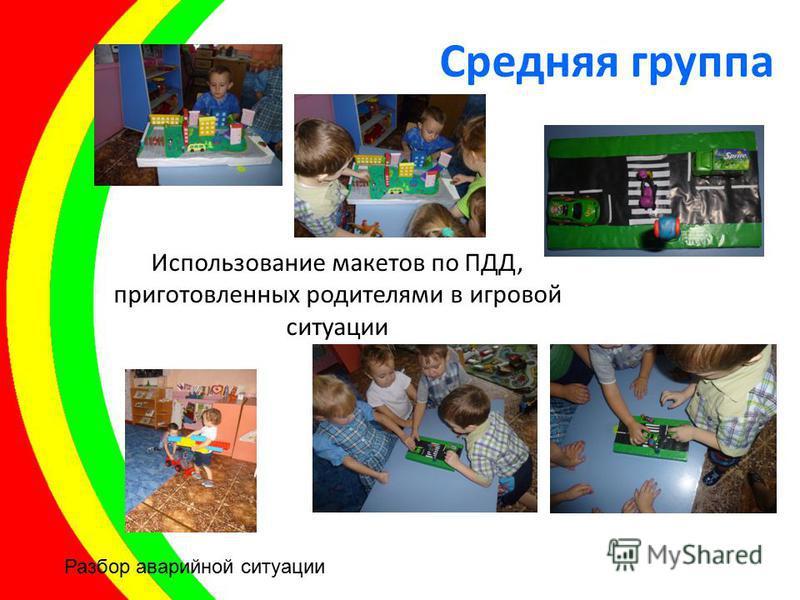 Использование макетов по ПДД, приготовленных родителями в игровой ситуации Разбор аварийной ситуации Средняя группа