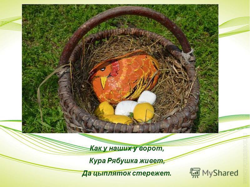 Как у наших у ворот, Кура Рябушка живет, Да цыпляток стережет.
