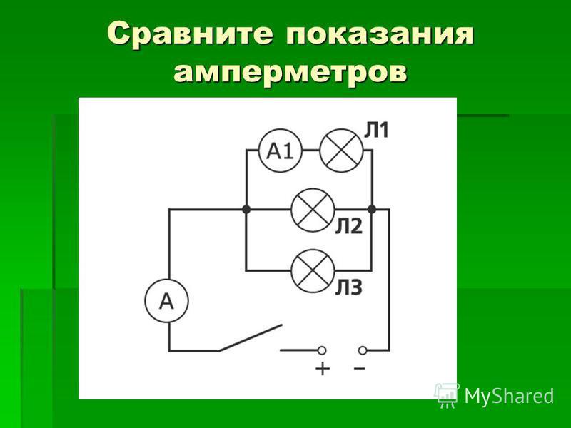 Сравните показания амперметров