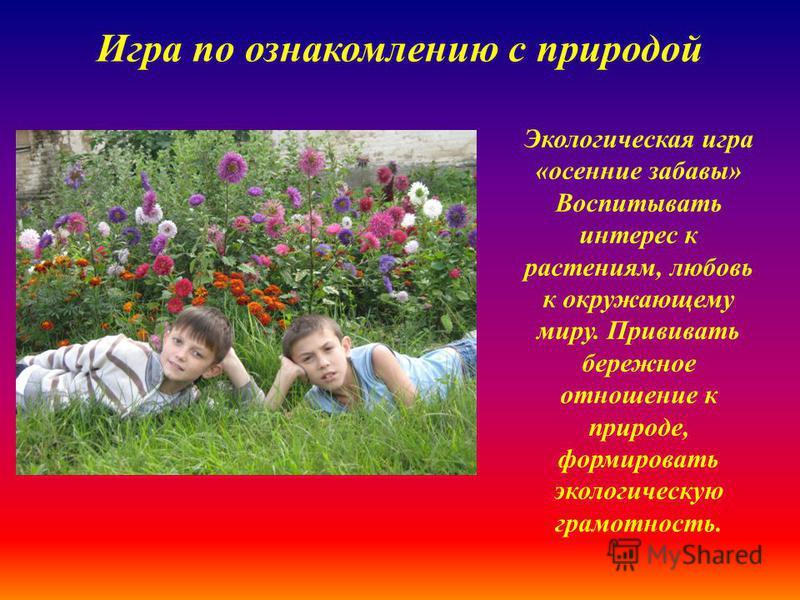 Игра по ознакомлению с природой Экологическая игра «осенние забавы» Воспитывать интерес к растениям, любовь к окружающему миру. Прививать бережное отношение к природе, формировать экологическую грамотность.
