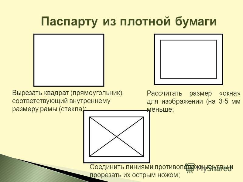 Вырезать квадрат (прямоугольник), соответствующий внутреннему размеру рамы (стекла); Рассчитать размер «окна» для изображении (на 3-5 мм меньше; Соединить линиями противоположные углы и прорезать их острым ножом;
