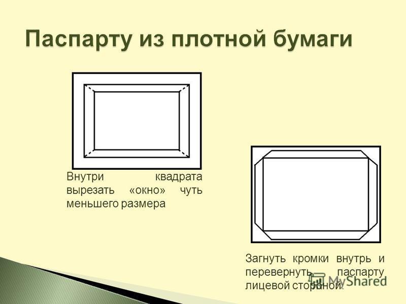 Внутри квадрата вырезать «окно» чуть меньшего размера Загнуть кромки внутрь и перевернуть паспарту лицевой стороной.