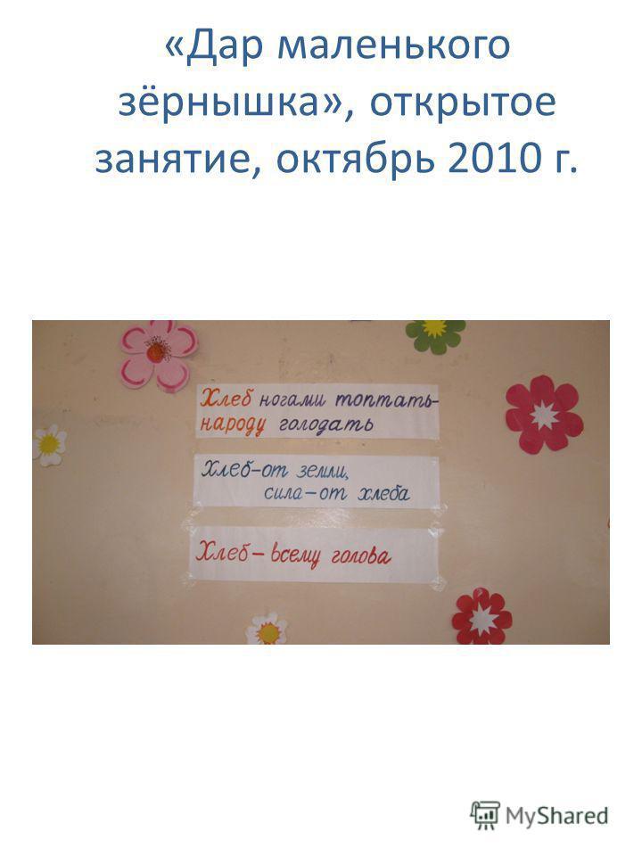 «Дар маленького зёрнышка», открытое занятие, октябрь 2010 г.