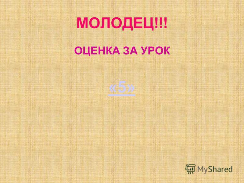 МОЛОДЕЦ!!! ОЦЕНКА ЗА УРОК «5»