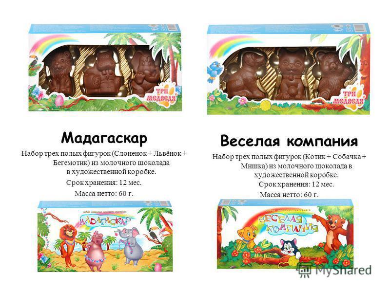 Мадагаскар Набор трех полых фигурок (Слоненок + Львёнок + Бегемотик) из молочного шоколада в художественной коробке. Срок хранения: 12 мес. Масса нетто: 60 г. Веселая компания Набор трех полых фигурок (Котик + Собачка + Мишка) из молочного шоколада в