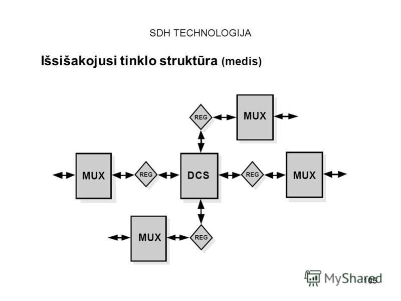105 SDH TECHNOLOGIJA Išsišakojusi tinklo struktūra (medis)
