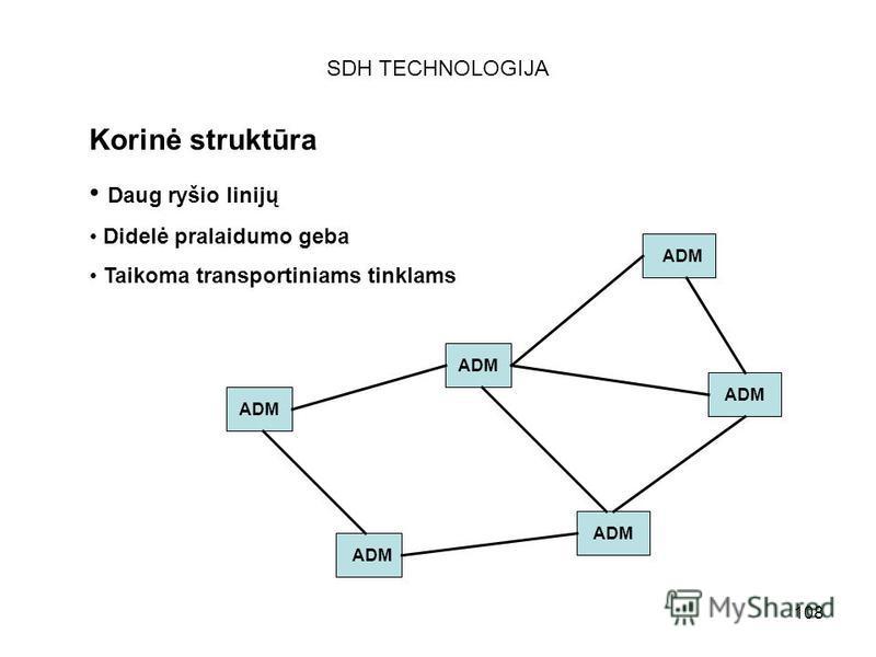 108 SDH TECHNOLOGIJA Korinė struktūra Daug ryšio linijų Didelė pralaidumo geba Taikoma transportiniams tinklams ADM
