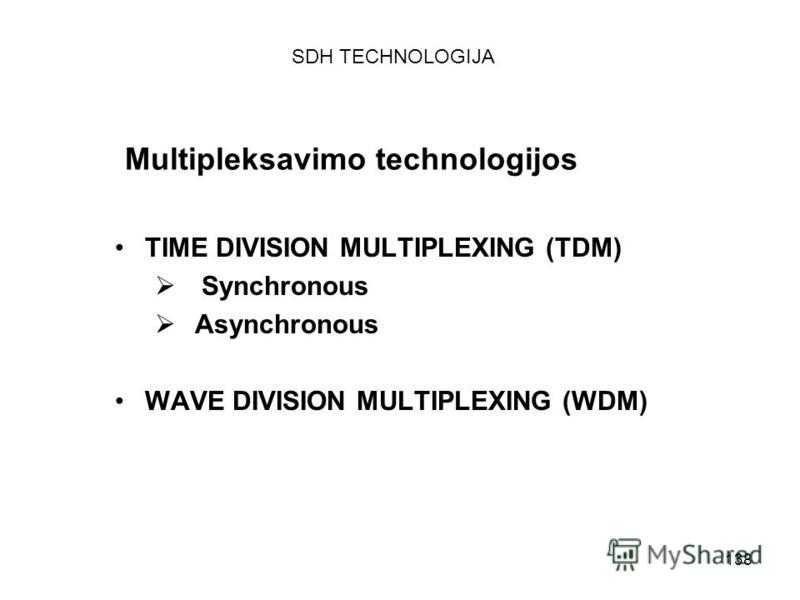 138 Multipleksavimo technologijos TIME DIVISION MULTIPLEXING (TDM) Synchronous Asynchronous WAVE DIVISION MULTIPLEXING (WDM) SDH TECHNOLOGIJA