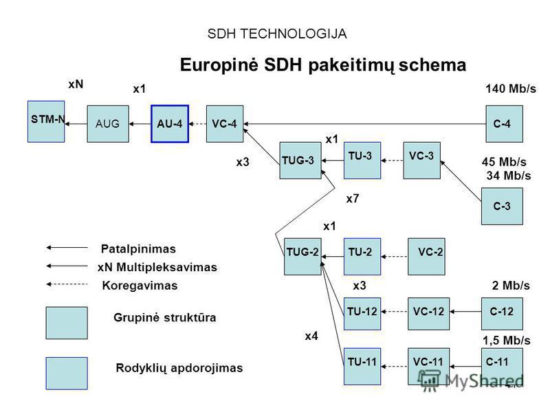 41 SDH TECHNOLOGIJA Europinė SDH pakeitimų schema STM-N AUGAU-4VC-4C-4 140 Mb/s C-3 45 Mb/s 34 Mb/s VC-3 C-12 C-11 TU-3 TUG-3 xN x1 x3 x1 x7 x1 x3 x4 TU-2 TU-12 TU-11 TUG-2VC-2 VC-12 VC-11 Patalpinimas xN Multipleksavimas Koregavimas Grupinė struktūr