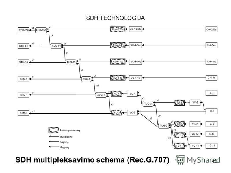 42 SDH TECHNOLOGIJA SDH multipleksavimo schema (Rec.G.707)