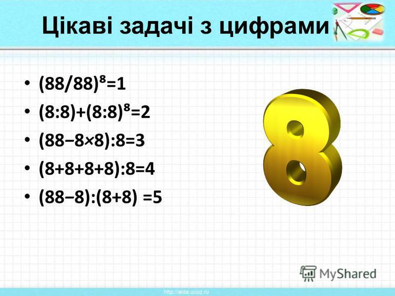 Цікаві задачі з цифрами (88/88)=1 (8:8)+(8:8)=2 (888×8):8=3 (8+8+8+8):8=4 (888):(8+8) =5
