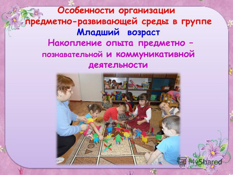 Особенности организации предметно-развивающей среды в группе Младший возраст Накопление опыта предметно – познавательной и коммуникативной деятельности