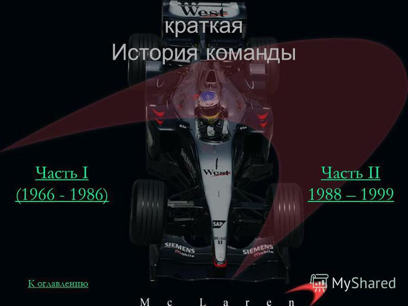 краткая История команды Часть I (1966 - 1986) Часть II 1988 – 1999 К оглавлению