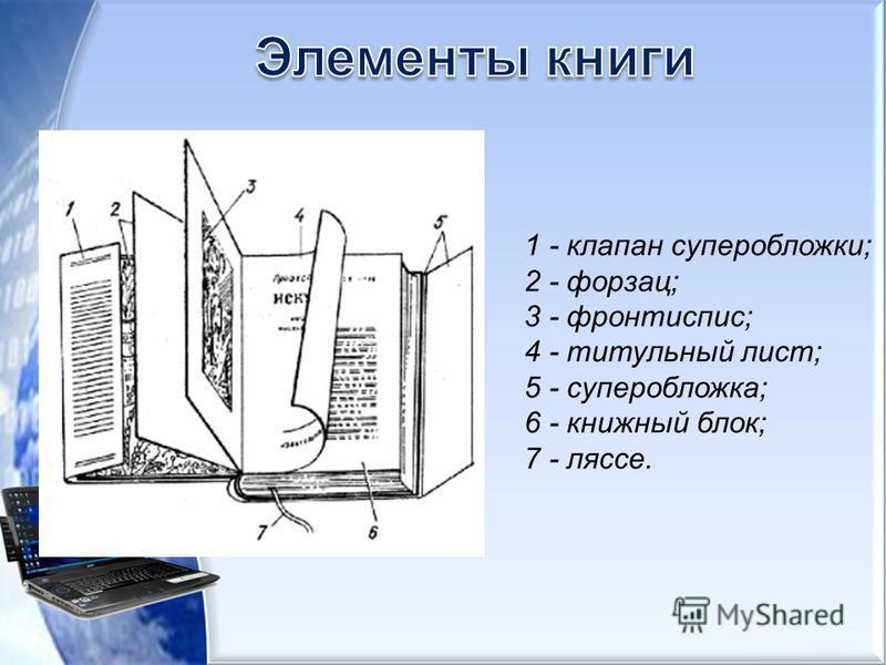 1 - клапан суперобложки; 2 - форзац; 3 - фронтиспис; 4 - титульный лист; 5 - суперобложка; 6 - книжный блок; 7 - ляссе.