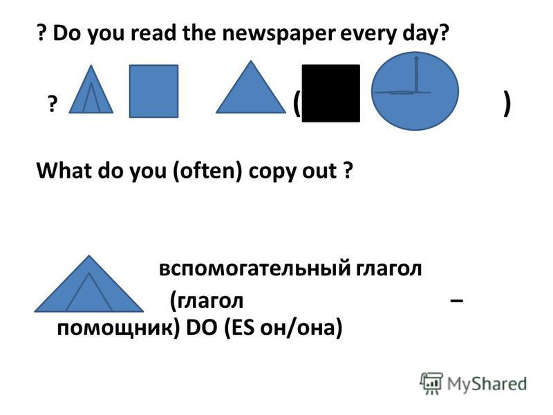 ? Do you read the newspaper every day? ? ( ) What do you (often) copy out ? вспомогательный глагол (глагол – помощник) DO (ES он/она)