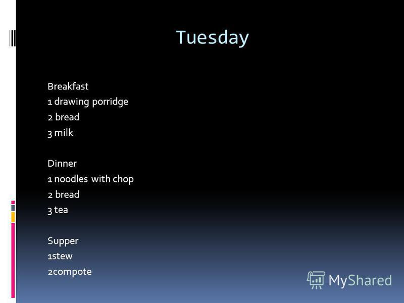 Tuesday Breakfast 1 drawing porridge 2 bread 3 milk Dinner 1 noodles with chop 2 bread 3 tea Supper 1stew 2compote